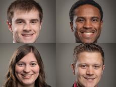 2019 CFAES Distinguished Senior FABE recipients Justin Haerr, Manny Barnes, Jenna Lee, and Joey Smith