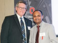 Dr. Ajay Shah receiving his award at the 21st annual College of Engineering Distinguished Faculty Awards
