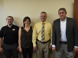 Members of the Global Sustainable Village planning team (left to right, Patrick Sanders, Kristen Conroy, Dr. Howard Greene, and Dr. Scott Shearer)