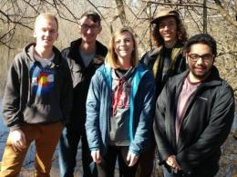 Carmack Woods Capstone Team: ecological engineering majors Monica Backs, Lucas Froelich, Jake Radeff, Patrick Sanders, and biological engineering major Gio Papio